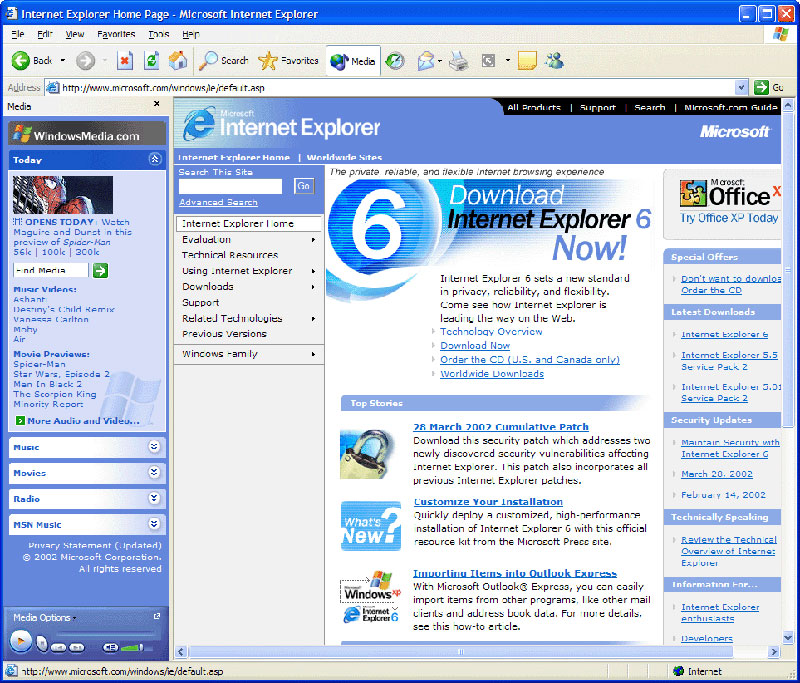Internet Explorer 6 trên Windows XP