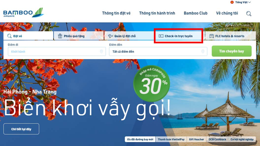 check in online Bamboo Airways
